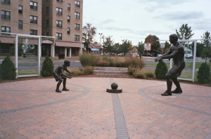 Basketball monument in Mason Square