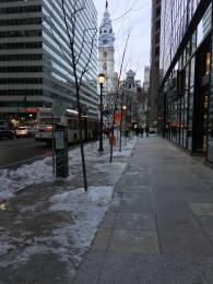 Downtown Philadelphia in the winter.